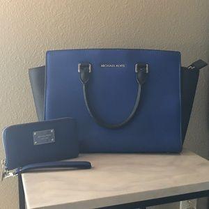 Michael Kors Selma Purse & Wallet in Cobalt Blue